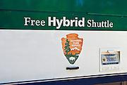 Hybrid shuttle bus, Yosemite National Park, California USA