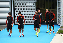 David Silva, Nolito, Kevin de Bruyne and Kelechi Iheanacho of Manchester City walk out to train - Mandatory by-line: Matt McNulty/JMP - 12/09/2016 - FOOTBALL - Manchester City - Training session ahead of Champions League Group C match against Borussia Monchengladbach