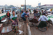 Trisha traffic jam at Wholesale Fruit and Vegetable Market,, Yangon