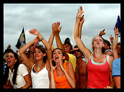 April 29th, 2006. New Orleans, Louisiana. Jazzfest . The New Orleans Jazz and Heritage festival. Teenage fans dance up a storm to The Dave Matthews Band at the Acura Stage.