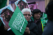 A small group of counter protesters welcoming prince Bin Salman gather next to the protesters agains the visit by Saudi prince Bin Salman opposite Downing Street March 7th 2018 in London, United Kingdom. Many are angry at the Saudi involvement and continued bombing in Yemen with tens of thousands of civilian casualties and many more displaced by the war. (photo by Kristian Buus/In Pictures via Getty Images)