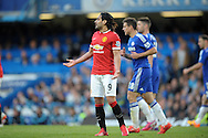Radamel Falcao of Manchester United shows frustration during the second half. Barclays Premier league match, Chelsea v Manchester Utd at Stamford Bridge Stadium in London on Saturday 18th April 2015.<br /> pic by John Patrick Fletcher, Andrew Orchard sports photography.
