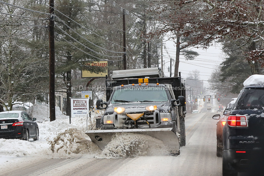 (1/20/19, MEDWY, MA) A plow clears Rt.109 in Medway on Sunday. [Daily News and Wicked Local Photo/Dan Holmes]