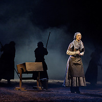 """Picture shows : Cath Whitefield as Tottie.<br /> Bondagers <br /> By Sue Glover<br /> Directed by Lu Kemp<br /> """"Redd up the stables, muck out the byre, plant the tatties, howk the tatties, clamp the tatties... Shear, stook, striddle, stack. Women's work.""""<br /> A true classic of modern Scottish Theatre, and a haunting evocation of a lost way of life, Sue Glover's lyrical play with music and song follows six women land workers as they graft and dance their way through a year on a 19th Century Borders farm.<br /> Every ploughman had to provide a woman (a bondager) to work on the farm. If his wife was too busy with family, he hired a woman to work the fields and lodge in his home. Following these womenthrough the passing of the seasons, we feel the rhythm of the land and the harshness, humour, hope and tragedy of those who worked upon it.<br /> Picture : Drew Farrell<br /> Tel : 07721 -735041<br /> www.drewfarrell.com<br /> <br /> <br /> For Further information please contact Michelle Mangan Press and PR Manager, Royal Lyceum Theatre Edinburgh <br /> Main Line: 0131 248 4800
