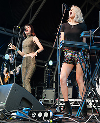 © Licensed to London News Pictures. 21/06/2015. London, UK.  Ekkah performing at Hyde Park as part of the British Summer Time series of entertainment and music events and concerts held at Hyde Park.  In this picture - Rebecca Wilson (left), Rebekah Pennington (right).  Ekkah are Rebekah Pennington and Rebecca Wilson.   Photo credit: Richard Isaac/LNP