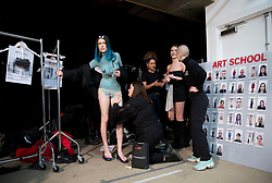 Models on the backstage during the MAN Autumn/ Winter 2018 London Fashion Week show at Topman Showspace, London. PRESS ASSOCIATION Photo. Picture date: Sunday January 7, 2018. See PA story CONSUMER Fashion. Photo credit should read: Isabel Infantes/PA Wire