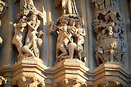 Tympanum of central west portal: Scenes of the Damned in Hell Day of Judgement, supported by an array of saints.  Gothic Cathedral of Notre-Dame, Amiens, France