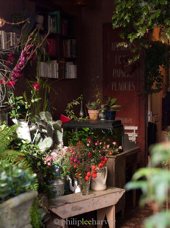 Flower shop at the Canal Saint Martin, Paris, France