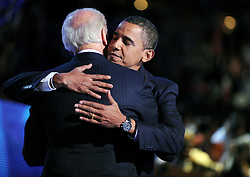 """File photo dated August 27, 2008 Democratic presidential nominee Barack Obama (R) embraces his Vice President candidate Joe Biden, following Biden's acceptance speech, during the Democratic National Convention in Denver, CO, USA. Former President Barack Obama endorsed Joe Biden, his two-term vice president, on Tuesday morning in the race for the White House. """"Choosing Joe to be my vice president was one of the best decisions I ever made, and he became a close friend. And I believe Joe has all the qualities we need in a president right now,"""" Obama said in a video posted to Twitter. Photo by Olivier Douliery/ABACAPRESS.COM"""