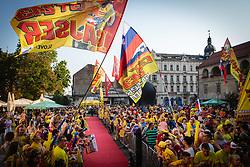 The crowd at Trg Leona Štuklja before sprejem Tima Gajsreja, on Avgust 27, 2019 in Maribor, Slovenia. Photo by Blaž Weindorfer / Sportida
