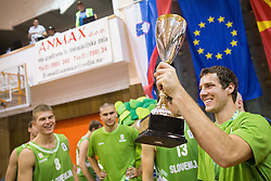 Goran Dragic of Slovenia with Trophy for 1st place at Generali tournament after the friendly match between National teams of Slovenia and Republic of Macedonia for Eurobasket 2013 on July 28, 2013 in Litija, Slovenia. Slovenia defeated Macedonia 63-54. (Photo by Vid Ponikvar / Sportida.com)