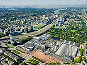Nederland, Noord-Holland, Amsterdam, 02-09-2020; Amsterdam-Zuid, Zuid-as met ring A10. In de voorgrond RAI Amsterdam, congrescentrum  en beurscomplex. In de verte Schiphol. <br /> Amsterdam-Zuid, Zuidas with ring A10. In the foreground RAI Amsterdam, conference center and exhibition complex.<br /> <br /> luchtfoto (toeslag op standard tarieven);<br /> aerial photo (additional fee required);<br /> copyright foto/photo Siebe Swart