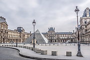 Paris, France, 3/17/20   The famouse Louvre museum during lockdown in Paris.