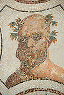 Picture of a Roman mosaics design depicting Sileuns, from the ancient Roman city of Thysdrus. 3rd century AD. El Djem Archaeological Museum, El Djem, Tunisia. .<br /> <br /> If you prefer to buy from our ALAMY PHOTO LIBRARY Collection visit : https://www.alamy.com/portfolio/paul-williams-funkystock/roman-mosaic.html . Type - El Djem - into the LOWER SEARCH WITHIN GALLERY box. Refine search by adding background colour, place, museum etc<br /> <br /> Visit our ROMAN MOSAIC PHOTO COLLECTIONS for more photos to download as wall art prints https://funkystock.photoshelter.com/gallery-collection/Roman-Mosaics-Art-Pictures-Images/C0000LcfNel7FpLI