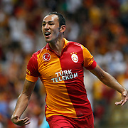 Galatasaray's Umut Bulut celebrating his goal during their Turkish Super League soccer match Galatasaray between Kasimpasa at the TT Arena at Seyrantepe in Istanbul Turkey on Monday 20 August 2012. Photo by TURKPIX