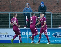 Arbroath's Danny Denholm celebrates after scoring their first goal. Arbroath 2 v 0 Montrose, Scottish Football League Division One played 10/11/2018 at Arbroath's home ground, Gayfield Park.