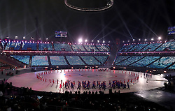 A general view of the stadium during the Opening Ceremony of the PyeongChang 2018 Winter Olympic Games at the PyeongChang Olympic Stadium in South Korea. PRESS ASSOCIATION Photo. Picture date: Friday February 9, 2018. See PA story OLYMPICS Ceremony. Photo credit should read: David Davies/PA Wire. RESTRICTIONS: Editorial use only. No commercial use