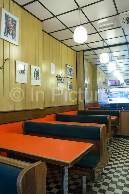 Interior of the Fryers Delight Fish and Chip Shop on 13th October 2015 along Theobalds Road in London, United Kingdom. The Fryer's Delight is a classic fish and chip restaurant and take away