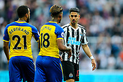 Hat-trick scorer Ayoze Perez (#17) of Newcastle United shakes hands with Southampton goal scorer Mario Lemina (#18) of Southampton following the Premier League match between Newcastle United and Southampton at St. James's Park, Newcastle, England on 20 April 2019.