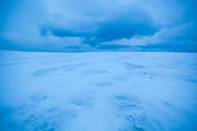The snowy plateau of Sverdruphamaren, Svalbard.