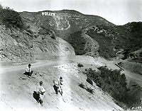 November 1923 Men seeding the hillside during the construction of the Hollywoodland sign