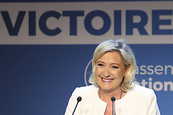 May 26, 2019 - Paris, France - President of the National Rally party, MARINE LE PEN, speaks to supporters at an election night rally. According to exit polls, French voters will hand victory to Le Pen's ultra-nationalist, anti-Europe party in Sunday's European parliamentary elections. (Credit Image: © Panoramic via ZUMA Press)