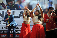 Ex England player and now BBC TMS commentator Phil Tufnell  takes part in a Bollywood dance Routine with Southampton University Indian Dance Society during the third day of the 4th SpecSavers International Test Match 2018 match between England and India at the Ageas Bowl, Southampton, United Kingdom on 1 September 2018.