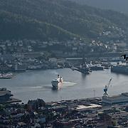 Three weeks aboard the Kong Harald. Hurtigruten, the Coastal Express. Bergen from the top of Floybanen, the funicular.
