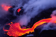 Lava into ocean, Kilauea Volcano, HVNP, Island of Hawaii<br />