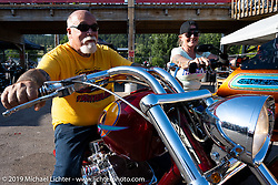 Dave Perewitz and Lora after the Perewitz Paint Show at the Iron Horse Saloon during the Sturgis Motorcycle Rally. Sturgis, SD, USA. Wednesday, August 11, 2021. Photography ©2021 Michael Lichter.