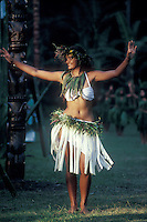 French Polynesia, Islands in the South Pacific, part of the French overseas Territories..traditional dancer in Tahiti.Photo by Owen Franken