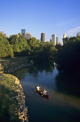 Stock photo of kayaking down Buffalo Bayou through Buffalo Bayou Park in Houston Texas