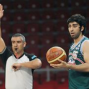 Banvit's Yunus CANKAYA (R) during their Turkish Basketball league semi final second leg match Fenerbahce Ulker between Banvit at Abdi Ipekci Arena in Istanbul, Turkey, Wednesday, May 12, 2010. Photo by TURKPIX