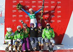12.01.2013, Karl Schranz Abfahrt, St. Anton, AUT, FIS Weltcup Ski Alpin, Abfahrt, Damen, Podium, im Bild Alice Mckennis (USA, Platz 1) mit Teamkollegen // 1st place Alice Mckennis of the USA celebrate on Podium with Team mates during ladies Downhill of the FIS Ski Alpine World Cup at the Karl Schranz course, St. Anton, Austria on 2013/01/12. EXPA Pictures © 2013, PhotoCredit: EXPA/ Spiess