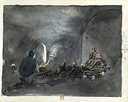 Woman in the Tomb at Thebes', (1821-1823). Crouching woman with an ancient style of oil lamp viewing a pile of crumbling mummified bodies. John Gardner Wilkinson (1797-1875), English explorer and Egyptologist who lived in Egypt and Nubia 1821-1833. Fellow of the Royal Society (FRS) 1833. Knighted 1839. Watercolour. Bibliotheque Nationale, Paris.