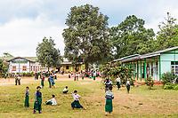 PYIN OO LWIN, MYANMAR - NOVEMBER 28, 2016 : children at school in Myanmar (Burma)