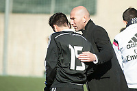Real Madrid Castilla´s coach Zinedine Zidane and Javier Munoz during 2014-15 Spanish Second Division B match between Trival Valderas and Real Madrid Castilla at La Canaleja stadium in Alcorcon, Madrid, Spain. February 01, 2015. (ALTERPHOTOS/Luis Fernandez)