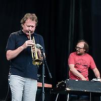 Canal Street, Arendal, 2014. Petter Molvær og Bugge Wesseltoft spiller med Marilyn Mazur.