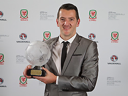 CARDIFF, WALES - Monday, October 5, 2015: FAW Fair Play Award winner Welsh League Division One Penybont FC's Craig Reddy during the FAW Awards Dinner Dinner at Cardiff City Hall. (Pic by David Rawcliffe/Propaganda)