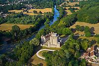France, Indre (36), Ciron, Château de Romefort sur les rives de la Creuse, vue aérienne // France, Indre (36), Ciron, Romefort castle on the Creuse river bank, aerial view