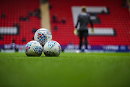 A general view of the match footballs inside The Valley Stadium prior to the EFL Sky Bet League 1 second leg Play-Off match between Charlton Athletic and Doncaster Rovers at The Valley, London, England on 17 May 2019.