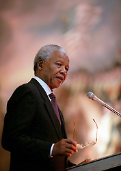 Sept. 23, 1998 - Washington, DC, USA - South African President Nelson Mandela speaks in the rotunda of the U.S. Capitol in Washington, D.C., in this file photo from September 23, 1998. (Credit Image: © Chuck Kennedy/TNS/ZUMAPRESS.com)