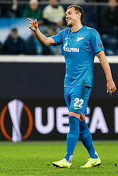 February 21, 2019 - Saint Petersburg, Russia - Artem Dzyuba of FC Zenit Saint Petersburg reacts during the UEFA Europa League Round of 32 second leg match between FC Zenit Saint Petersburg and Fenerbahce SK on February 21, 2019 at Saint Petersburg Stadium in Saint Petersburg, Russia. (Credit Image: © Mike Kireev/NurPhoto via ZUMA Press)