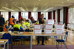 Pictured: Postal Vote manager Gordon Burgess gets involved in the stacking procedures<br /> <br /> Ahead of next week's polling day on Thursday 5 Amy, City of Edinburgh Council and Idox staff verify the first postal votes ahead of the Holyrood election in the MacRobert Pavilion at the home of the Scottish Highland Show <br /> <br /> Ger Harley | EEm 29 April 2016