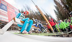 10.01.2014, Kulm, Bad Mitterndorf, AUT, FIS Ski Flug Weltcup, Probedurchgang, im Bild Richard Freitag (GER) // Richard Freitag (GER) during the Trial jump of FIS Ski Flying World Cup at the Kulm, Bad Mitterndorf, <br /> Austria on 2014/01/10, EXPA Pictures © 2014, PhotoCredit: EXPA/ JFK