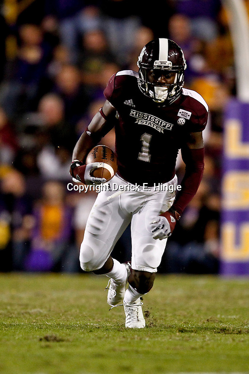 November 10, 2012; Baton Rouge, LA, USA; Mississippi State Bulldogs wide receiver Chad Bumphis (1) against the LSU Tigers during the second half of a game at Tiger Stadium.  LSU defeated Mississippi State 37-17. Mandatory Credit: Derick E. Hingle-US PRESSWIRE