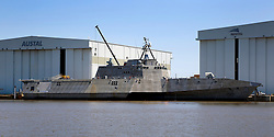 21 Apr 2013. Mobile, Alabama..General Dynamics' fast, highly maneuverable Littoral Combat Ship (LCS class) Navy boat at the Austal dock in Mobile Bay..Photo; Charlie Varley.
