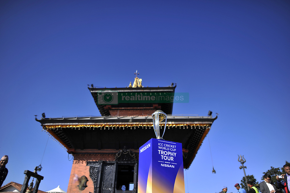 October 28, 2018 - Kathmandu, NP, Nepal - The 2019 ICC Cricket World Cup trophy is pictured infront Hindu Temple in Chandragiri Hills during a country tour in Kathmandu, Nepal on Sunday, October 28, 2018. The 2019 Cricket World Cup is to be hosted by England and Wales from 30 May to 14 July 2019. (Credit Image: © Narayan Maharjan/NurPhoto via ZUMA Press)