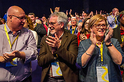 Pictured: Nicola Sturgeon's parents Robin and Joan  Sturgeon welcomed their daughter onto the stage<br /> The members of the SNP gathered in the Scottish Events Centre in Glasgow for their annual conference.<br /> <br /> Ger Harley | EEm 10 October 2017