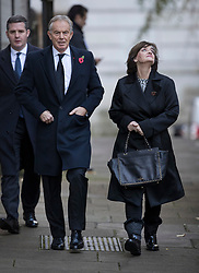 © Licensed to London News Pictures. 12/11/2017. London, UK. Cherie Blair looks up at Number 10 as she walks with former Prime Minister Tony Blair through Downing Street to attend the Remembrance Sunday Ceremony at the Cenotaph in Whitehall. Photo credit: Peter Macdiarmid/LNP